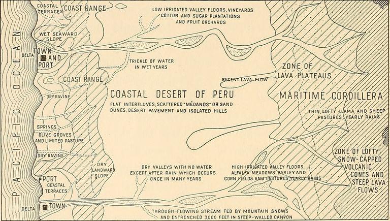 1915 Stylized Map of the Coastal Desert of Peru