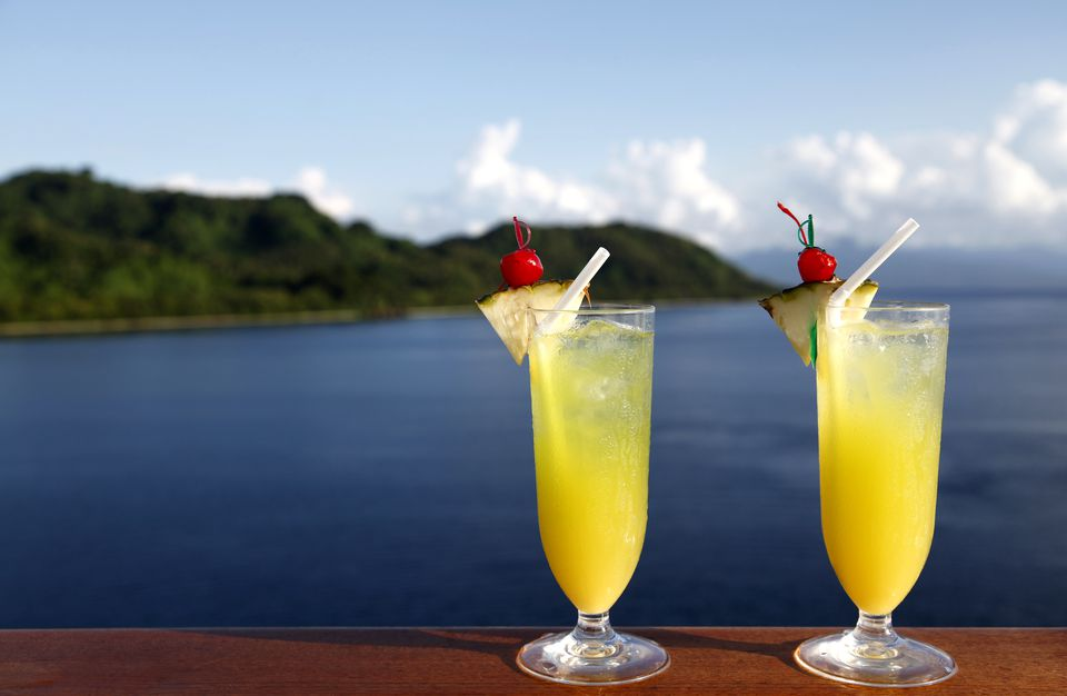 Tropical Rooibos Cooler Mocktails overlooking the ocean