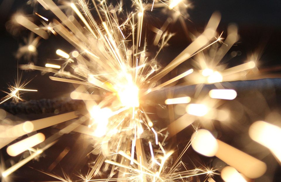 Close-Up Of Lit Sparkler At Night