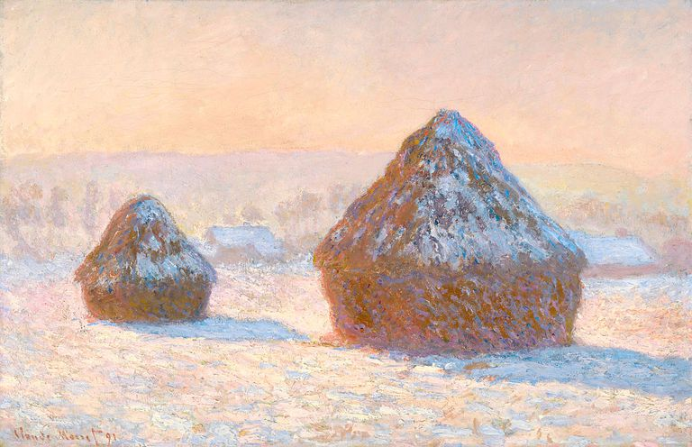 Claude Monet's painting of haystacks in the morning snow