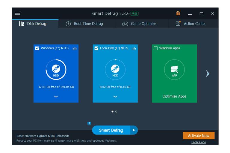 Screenshot of Smart Defrag v5 in Windows 10