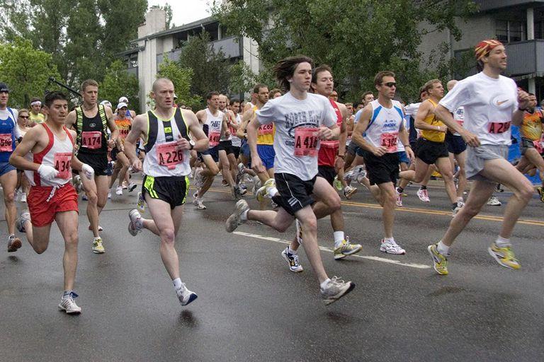 Amateur racers at the start of the Bolder Boulder 10 K Race, Memorial Day, Boulder Colorado