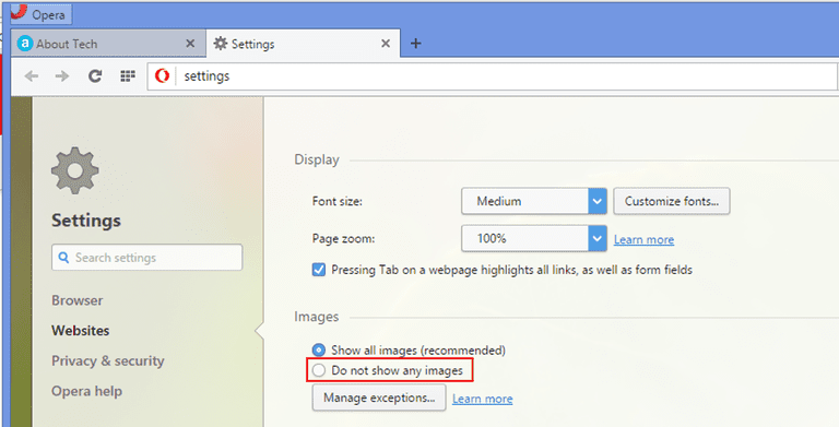 opera disable images
