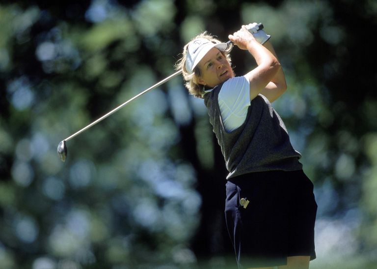 Hollis Stacy playing the US Women's Open - a tournament she won three times - in 2000.