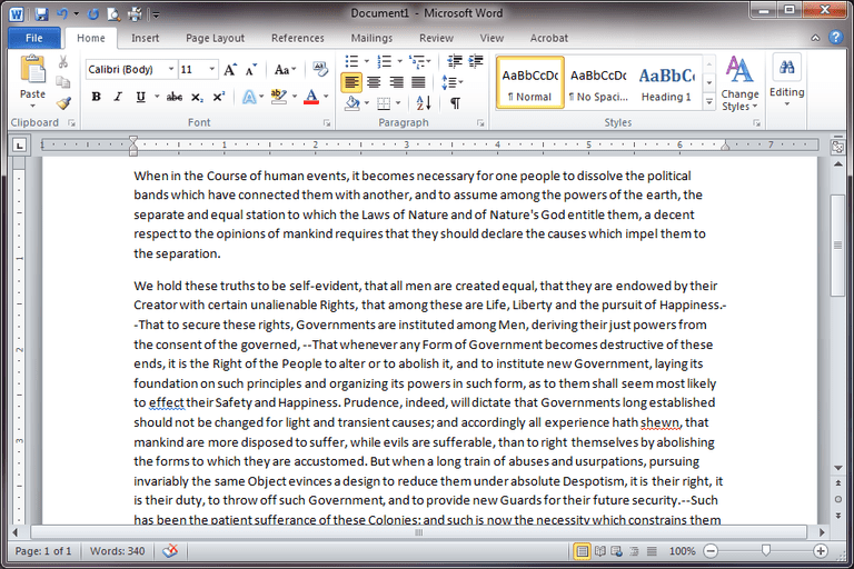 Screenshot of a document in Microsoft Word 2010