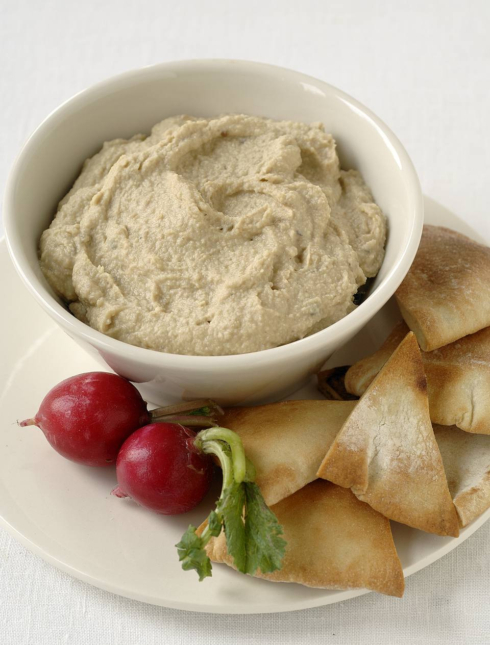 Bowl of Hummus with Pita Points & Radishes