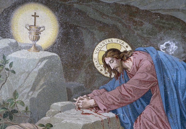 Jesus in Garden of Gethsemane, mosaic, detail, Glorious Mysteries Chapel, Upper Basilica of Our Lady of Rosary, Lourdes, Languedoc-Roussillon-Midi-Pyrenees, France, 19th century