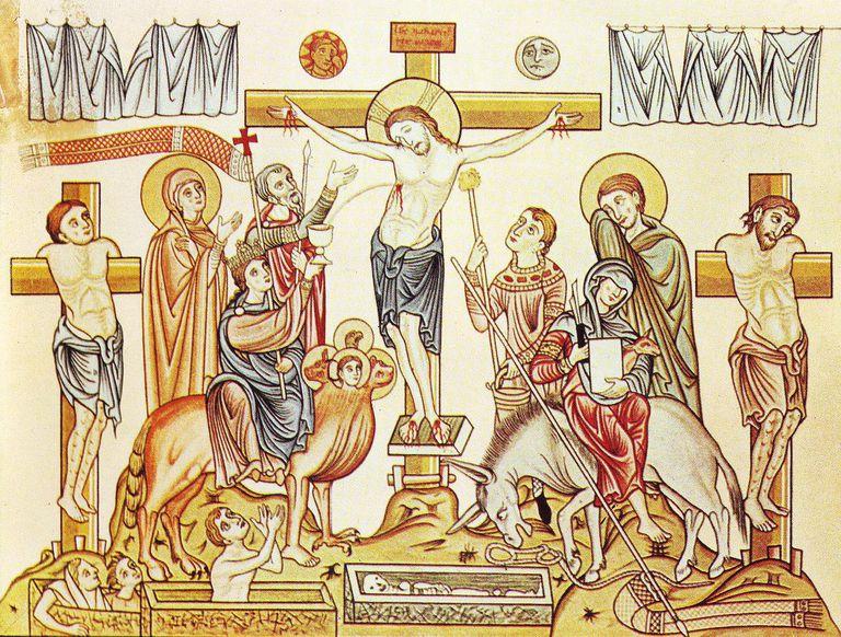 Crucifixion of Jesus of Nazareth, medieval illustration from the Hortus deliciarum of Herrad of Landsberg (12th century).