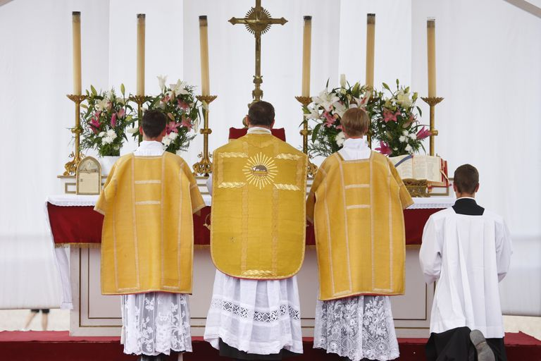 Paris, France, Mass on place Vauban at the end of a traditionalist catholic pilgrimage organised by Saint Pie X fraternity