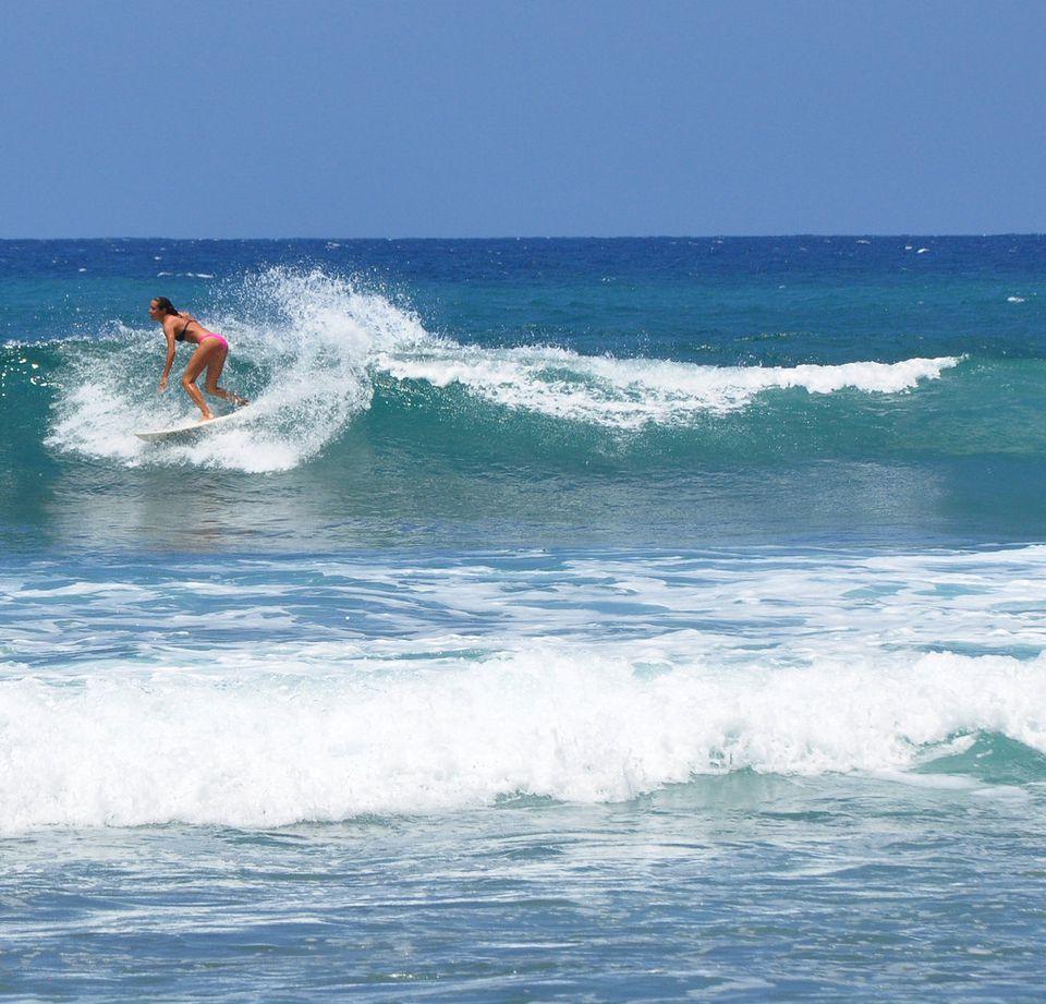 Surfing in RIncon, Puerto Rico