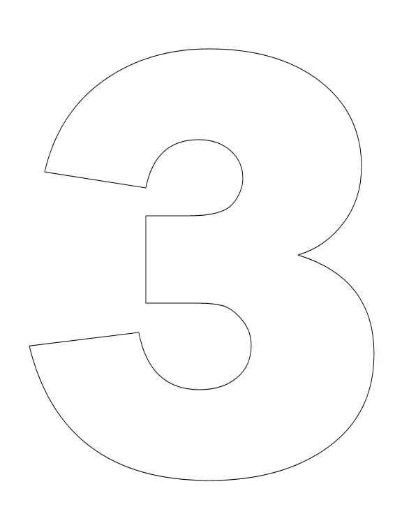 Number pictures to color for Number 3 cake template
