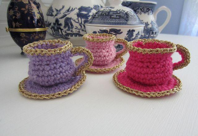Tea Cup Crochet Christmas Ornament