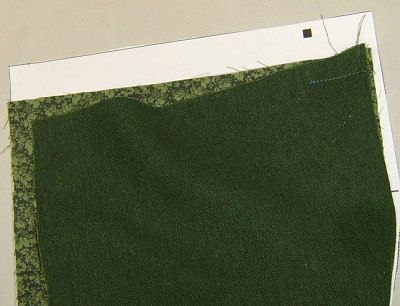 Sew from the finished seam to the dot.