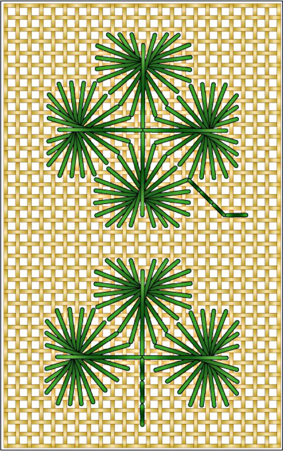 Rhodes Clover-Shamrock Needlepoint Stitch Diagram