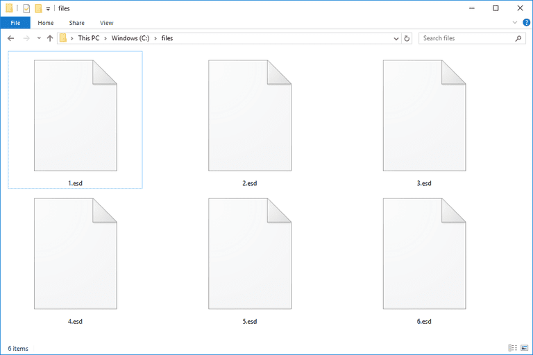 Screenshot of several ESD files in Windows 10
