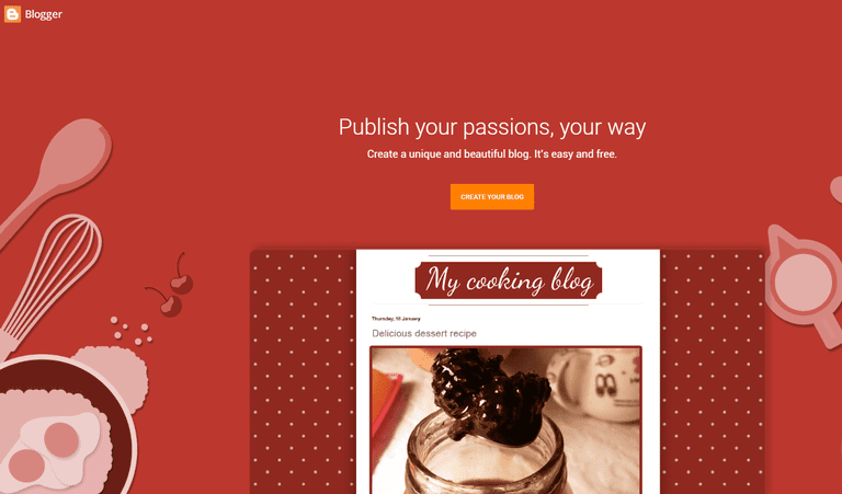 The Blogger homepage.