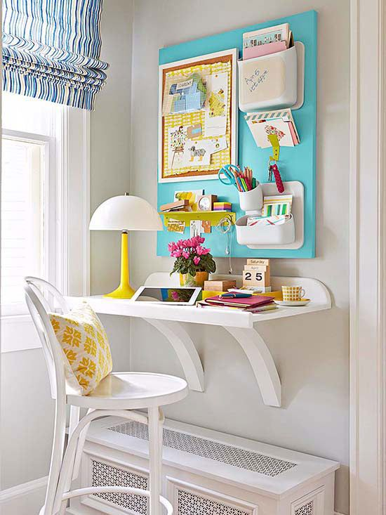 Simple space-saving shelf desk for homework nook