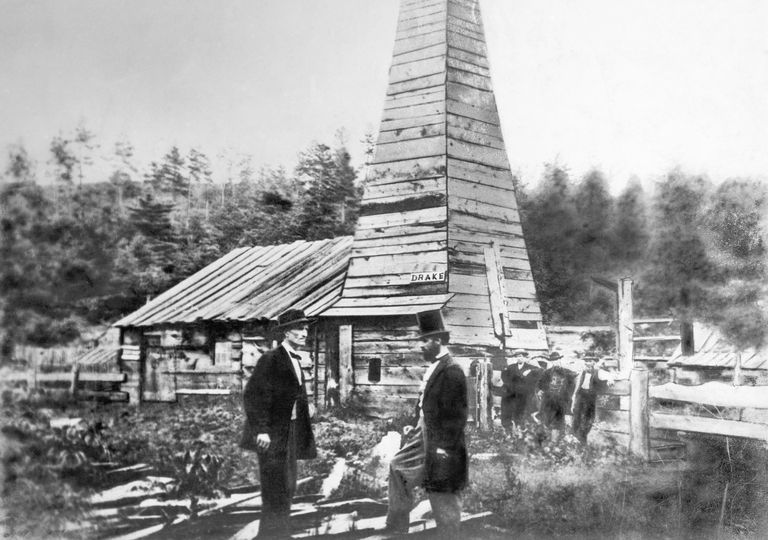 Photograph of Edwin Drake's first oil well