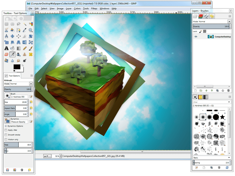 Screenshot of GIMP in Windows 7
