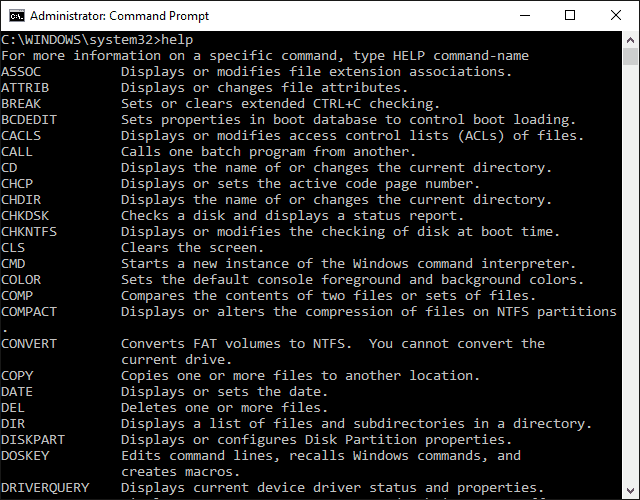 Screenshot of the help command in Windows 10