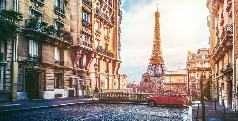Vintage Car On Street Against Eiffel Tower In City
