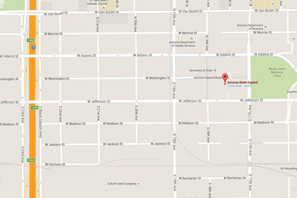 Arizona State Capitol Address Map And Directions - Arizona state map