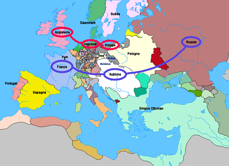 The alliances formed as a result of the Diplomatic Revolution.