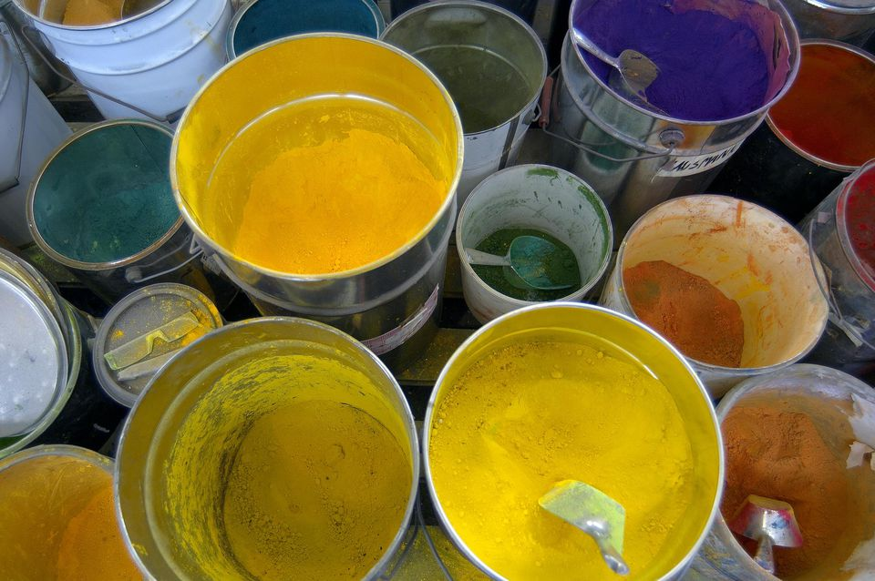 Pots of coloured paint, overhead view