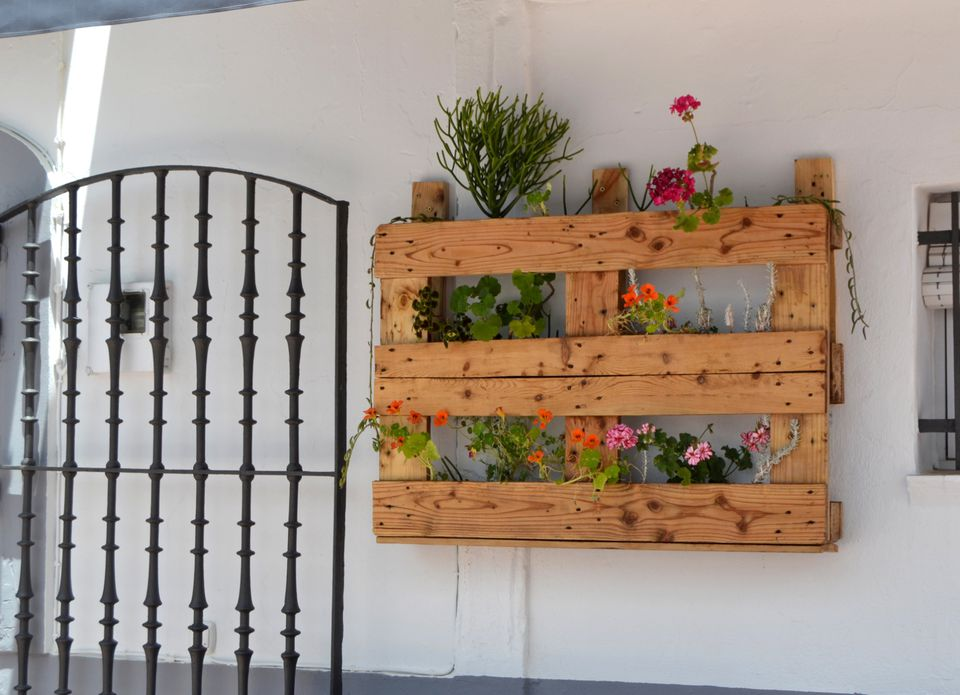Recycle wood pallets in the flower garden for Jardin potager 78