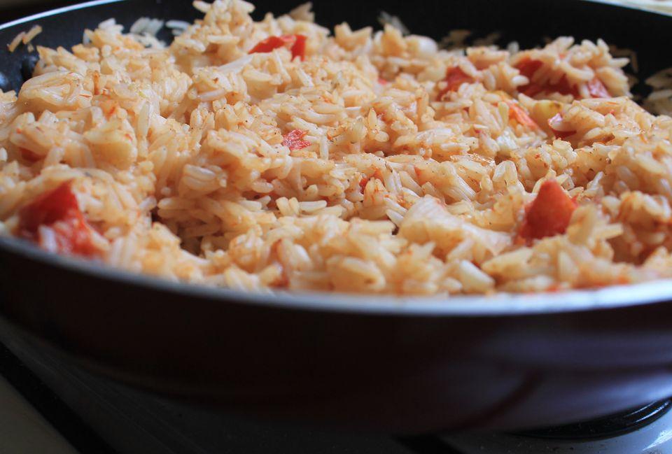 Vegetarian Spanish rice with tomatomes