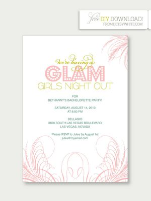 9 free printable bachelorette party invitations glam girls night out bachelorette party invitations from ruffled stopboris Images