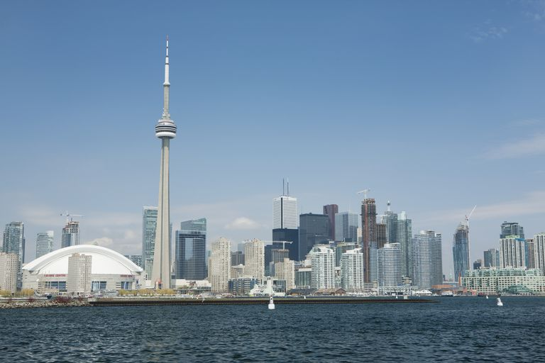 Skyline of Toronto, Canada, showing the CN Tower rising above all other architecture