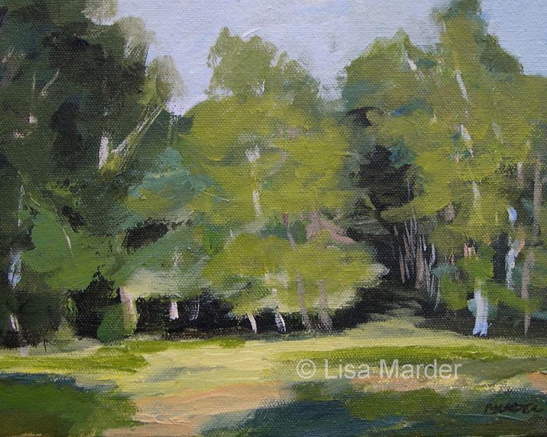 Painting of birch trees using a variety of greens.