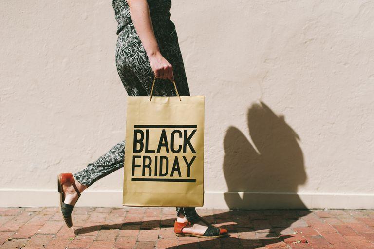 Woman walking with Black Friday shopping bag
