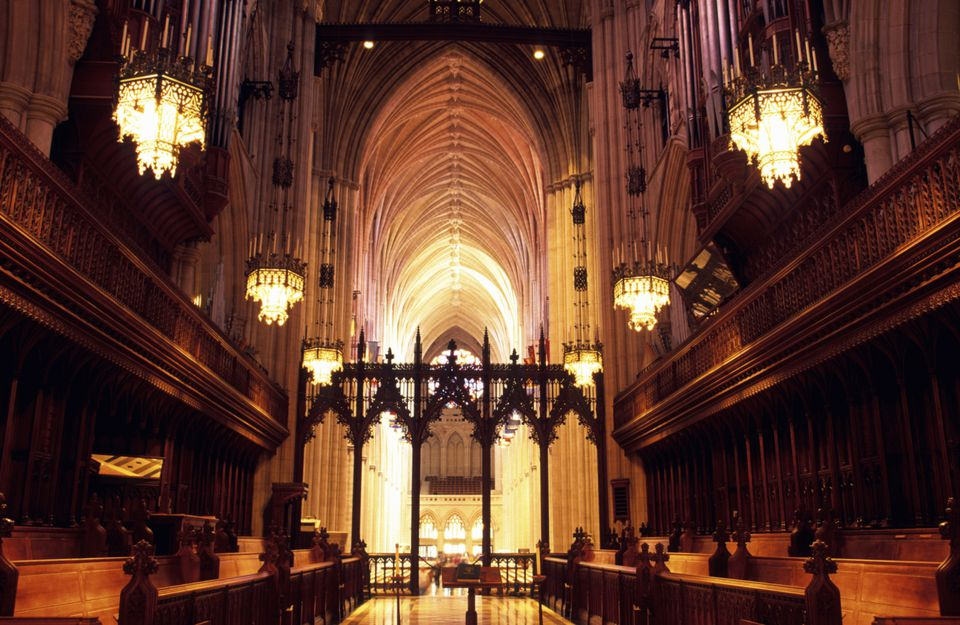 Nave of National Cathedral in Washington DC