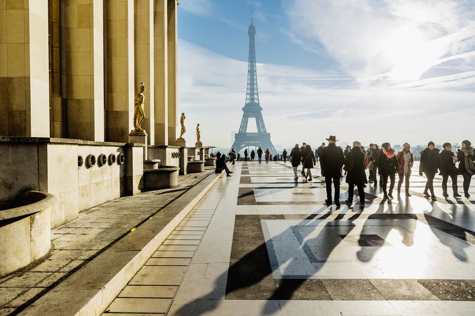 The Palais de Chaillot in Paris features a sweeping plaza offering dramatic views of the Eiffel Tower.
