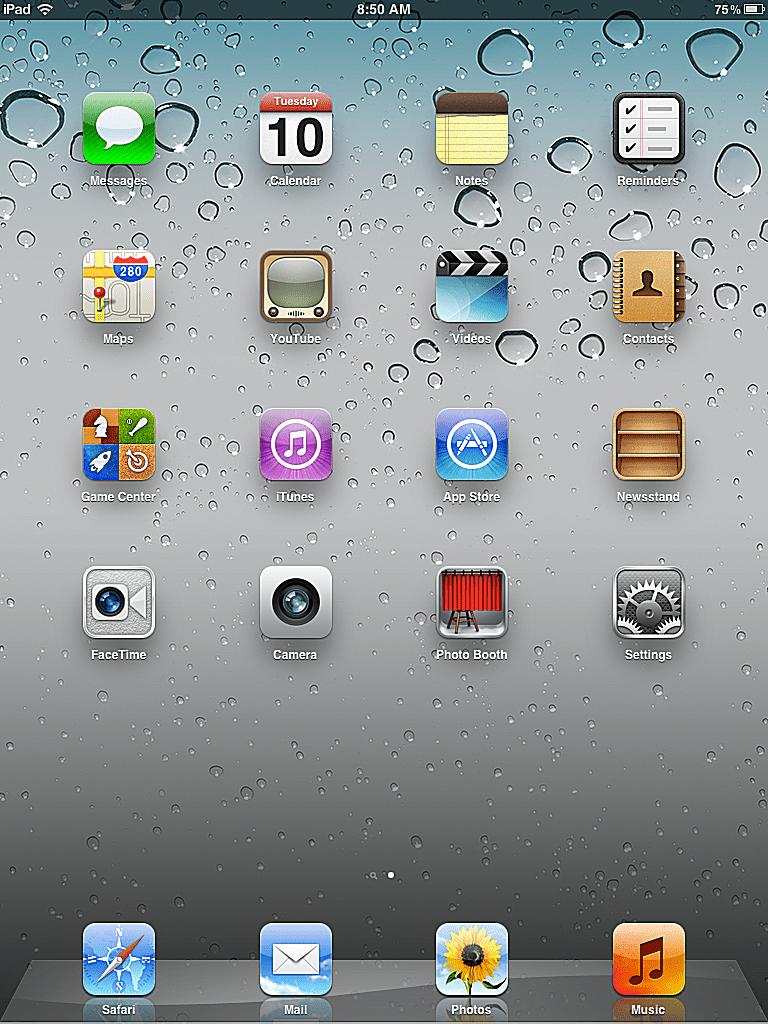The default iPad home screen