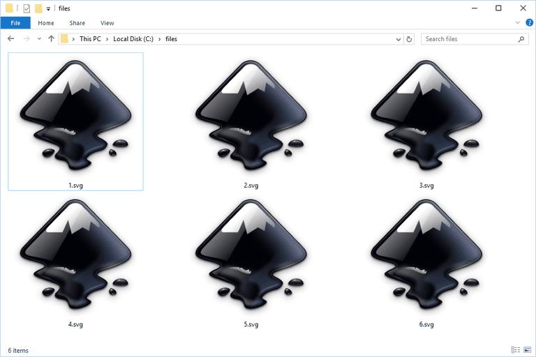 Screenshot of several SVG files in Windows 10