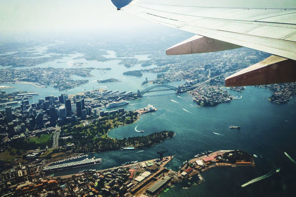 aerial view from plane of Sydney Harbour