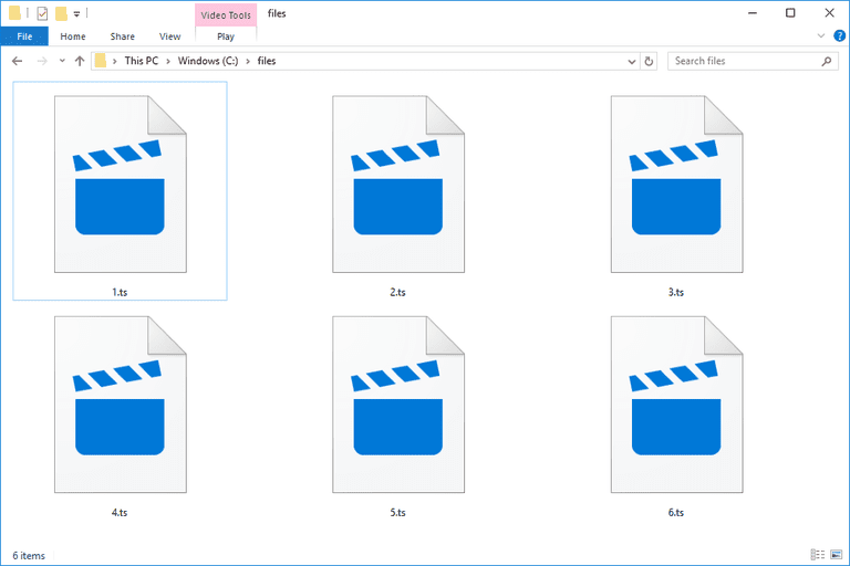 Screenshot of TS files that open with the Windows Movies & TV app