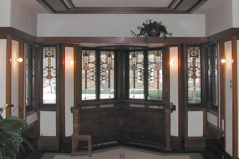 Decorative Glass Windows in Frederick Robie House Living Room