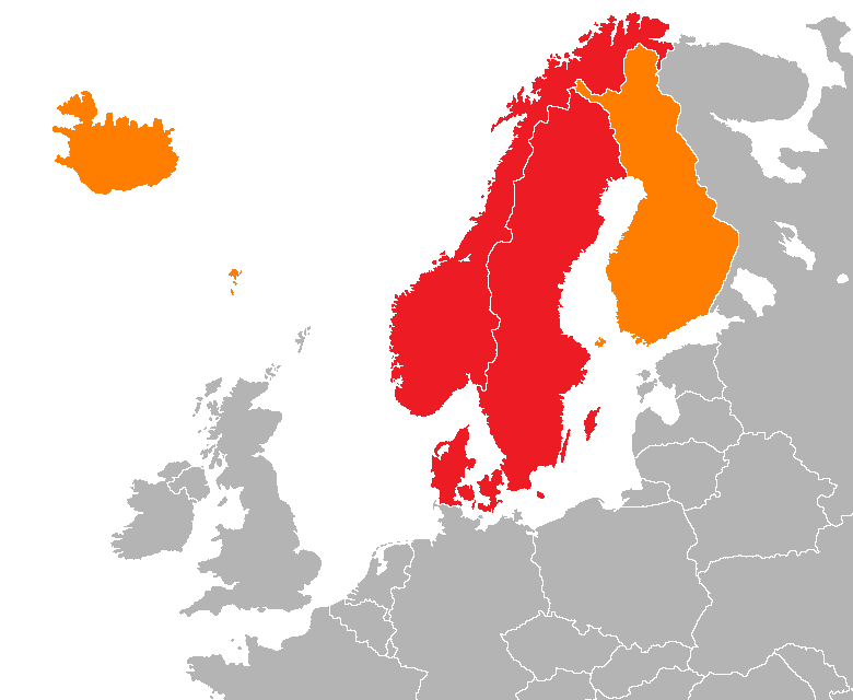 """Map showing two of the common definitions of """"Scandinavia""""; a cultural, historical and ethno-linguistic region in northern Europe"""