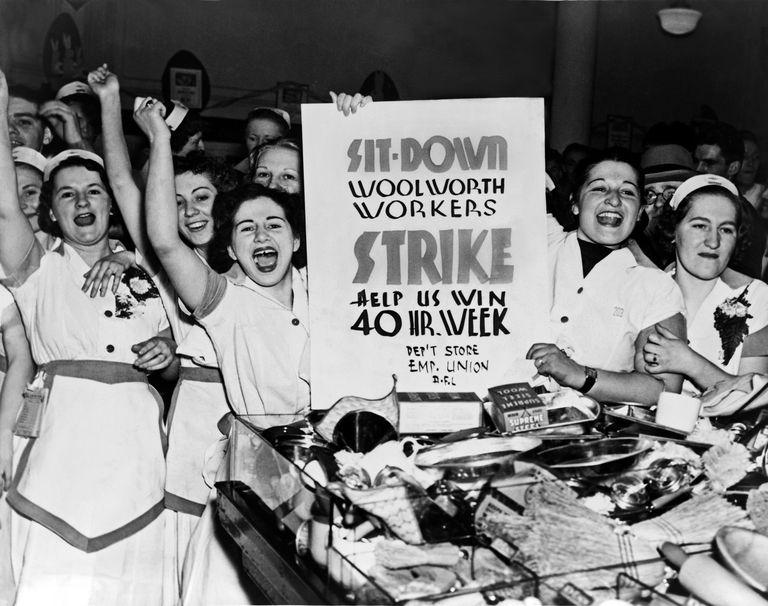 Striking Woolworth's workers demonstrating in 1937