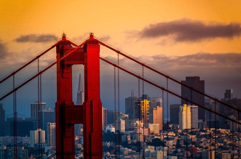 San Franicisco skyline behind Golden Gate Bridge