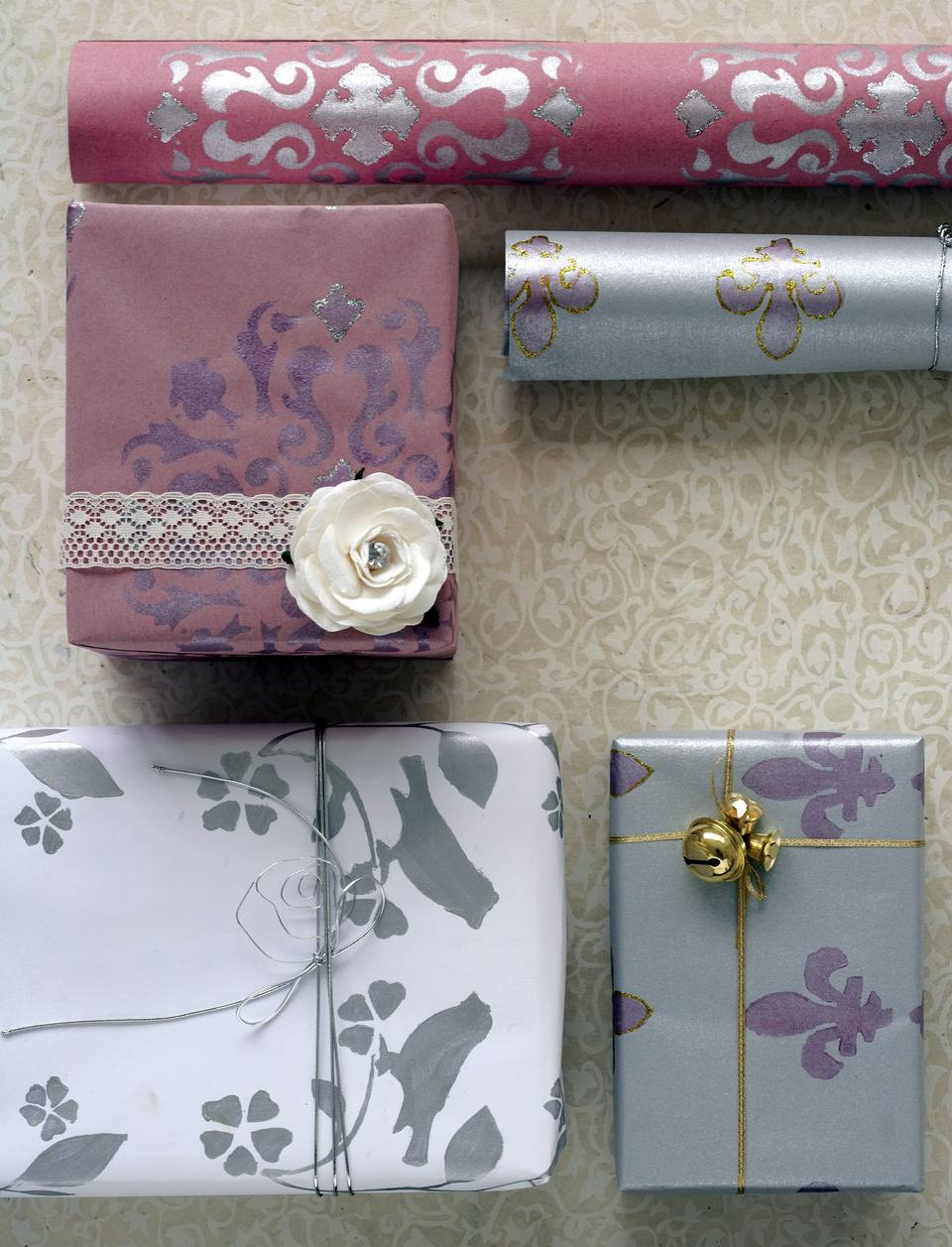 diy stenciled gift wrap