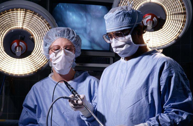 TWO DOCTORS WITH LAPAROSCOPE