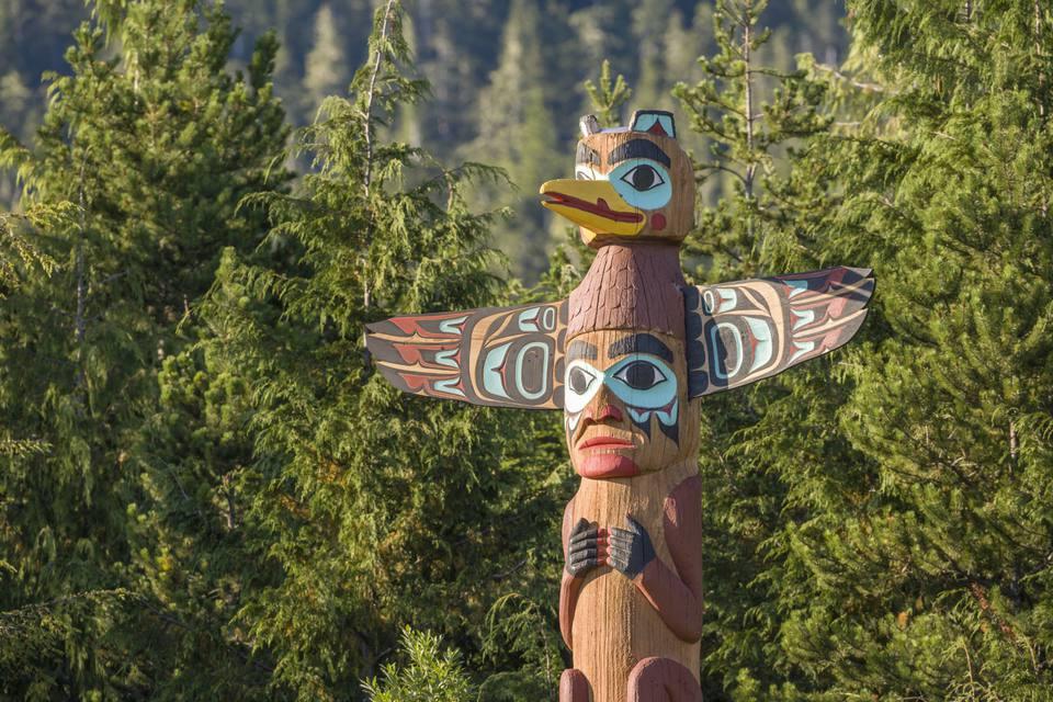 Totem Pole In Saxman Village At Ketchikan, Alaska.