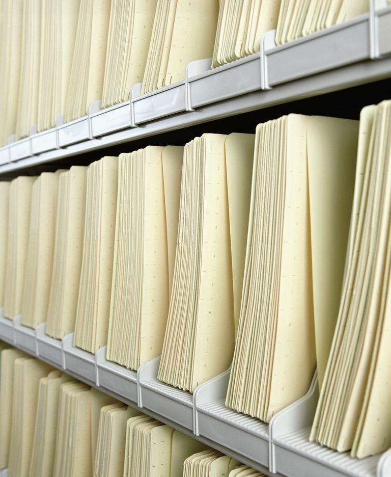 Detail of files on shelves