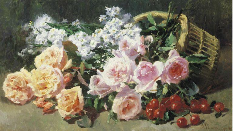 Fleurs et Cerises French 19th Century Floral Painting