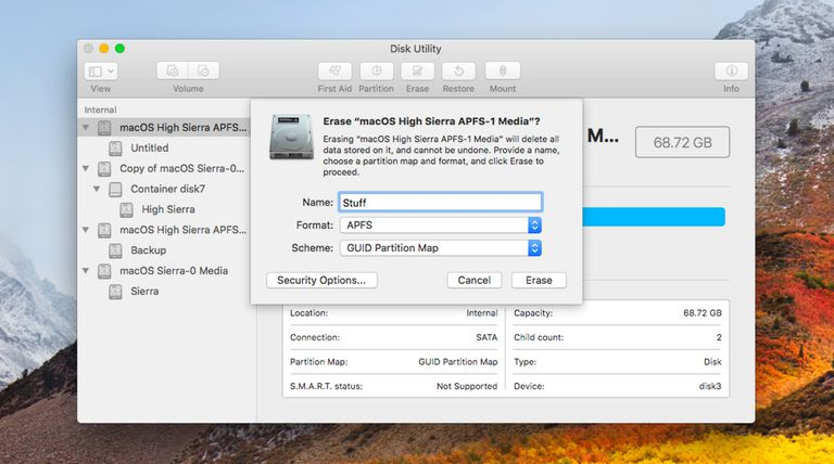Formatting a drive with APFS